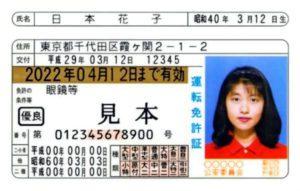 有効期限が西暦表示となった新しい運転免許証の見本(警察庁提供)